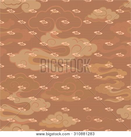 Vector Illustration Of Stylized, Abstract, Tan, Beige, Cream Clouds Resembling Dragon Tails At Beaut