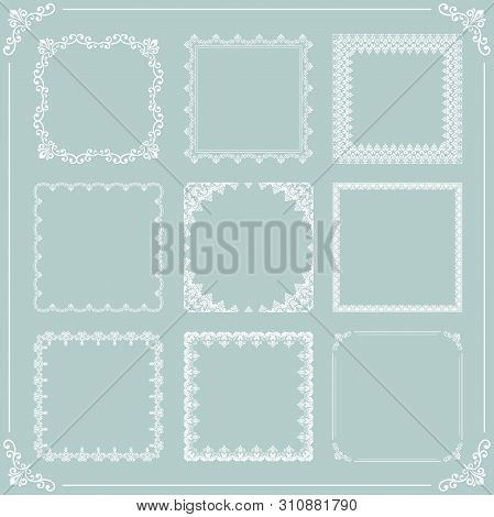 Vintage Set Of Vector Elements. Different White Square Elements For Decoration And Design Frames, Ca