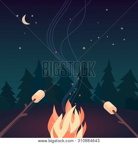Marshmallow Roasting Hand Drawn Flat Color Vector Icon. Marshmallows On Skewers In Night Camping Fir