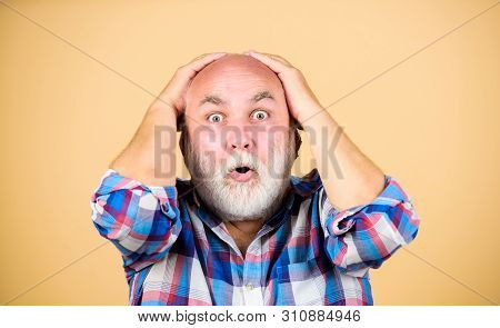 Early Signs Balding. Elderly People. Bearded Grandfather Grey Hair. Hair Loss. Age Issues. Man Losin