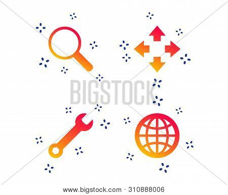 Magnifier Glass And Globe Search Icons. Fullscreen Arrows And Wrench Key Repair Sign Symbols. Random