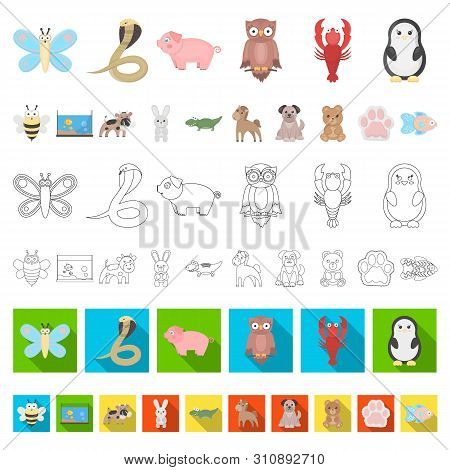 An Unrealistic Cartoon Animal Icons In Set Collection For Design. Toy Animals Bitmap Symbol Stock We