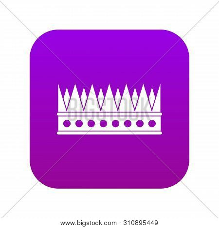 Regal Crown Icon Digital Purple For Any Design Isolated On White Vector Illustration