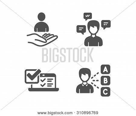 Set Of Conversation Messages, Online Survey And Recruitment Icons. Opinion Sign. Communication, Quiz