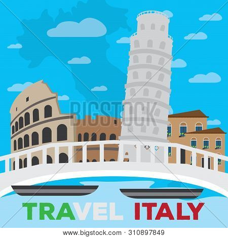 Colored Landscape Of Famous Places In Italy Over A Canal. Travel To Italy - Vector