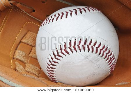 Close Up Of Baseball In Catcher's Mittt With Shallow Depth Of Field Focus On Stitching