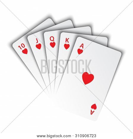 A Royal Flush Of Hearts On White Background, Winning Hands Of Poker Cards, Casino Playing Cards, Vec