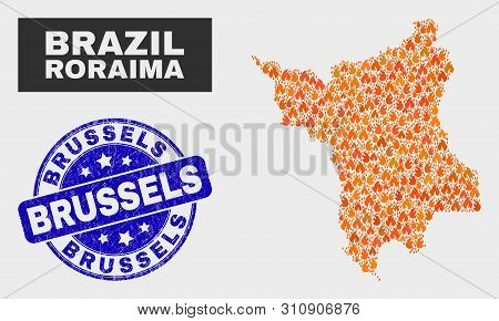 Vector Collage Of Flame Roraima State Map And Blue Round Scratched Brussels Seal. Orange Roraima Sta