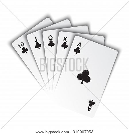 A Royal Flush Of Clubs On White Background, Winning Hands Of Poker Cards, Casino Playing Cards, Vect