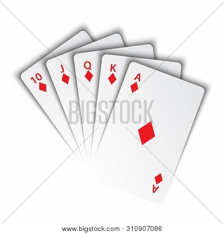 A Royal Flush Of Diamonds On White Background, Winning Hands Of Poker Cards, Casino Playing Cards, V