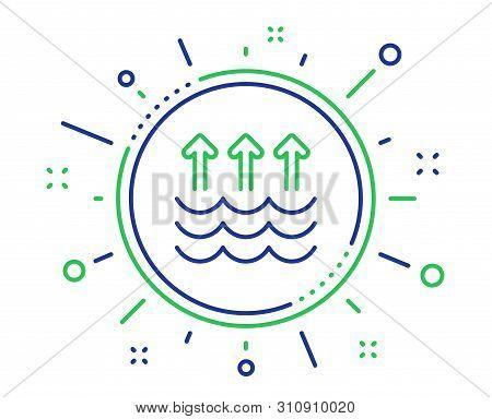 Evaporation Line Icon. Global Warming Sign. Waves Symbol. Quality Design Elements. Technology Evapor