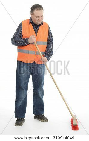 Construction Stuff  Worker Sweeper Sweeping Cleaning With Besom