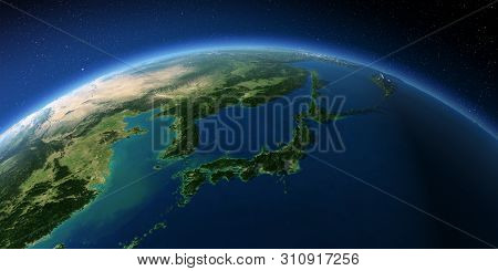 Highly Detailed Planet Earth With Exaggerated Relief Illuminated By The Evening Sun. Japan And Korea