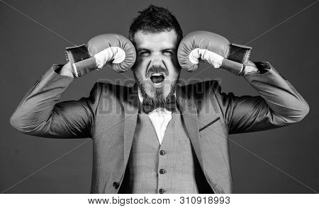 Powerful Man Boxer Ready For Corporate Battle. Businessman In Formal Suit And Bow Tie. Bearded Man I