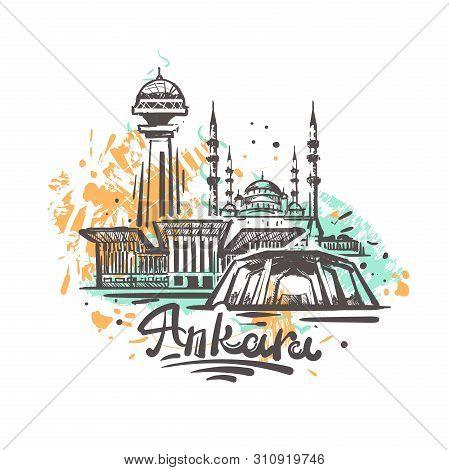 Ankara Abstract Color Drawing. Ankara Sketch Vector Illustration