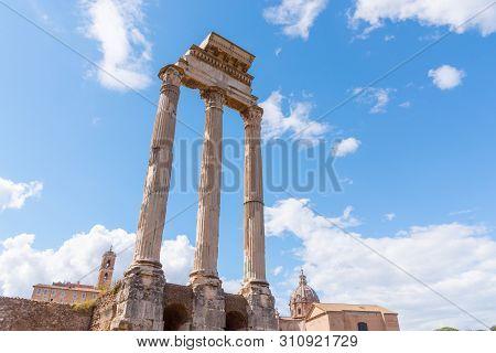 Temple Of Castor And Pollux, Italian: Tempio Dei Dioscuri. Ancient Ruins Of Roman Forum, Rome, Italy