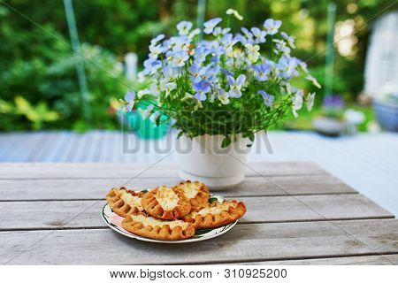 Karelian Pies (karjalanpiirakka) Made Of Thin Rye Flour With A Filling Of Rice Served For Breakfast.