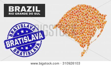 Vector Composition Of Fire Rio Grande Do Sul State Map And Blue Rounded Distress Bratislava Watermar