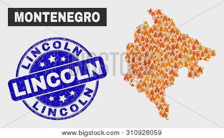 Vector Composition Of Wildfire Montenegro Map And Blue Round Grunge Lincoln Seal. Fiery Montenegro M