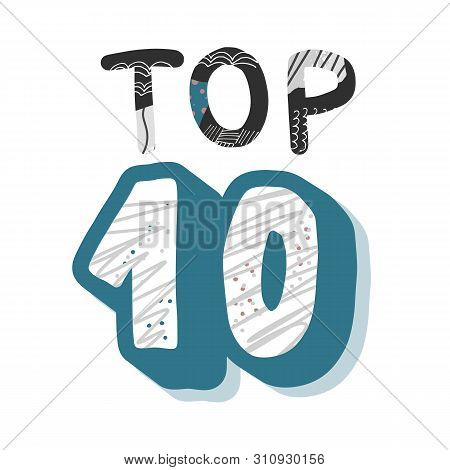 Top 10 Template With Collage Texture. Vector Blank Illustration.