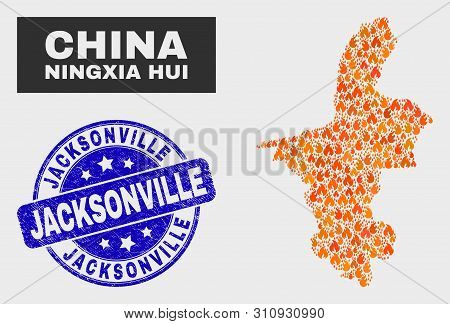Vector Collage Of Fire Ningxia Hui Region Map And Blue Round Distress Jacksonville Seal Stamp. Fiery