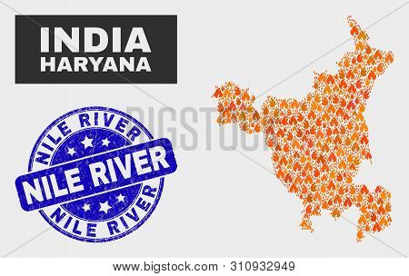 Vector Composition Of Burn Haryana State Map And Blue Rounded Distress Nile River Seal. Orange Harya