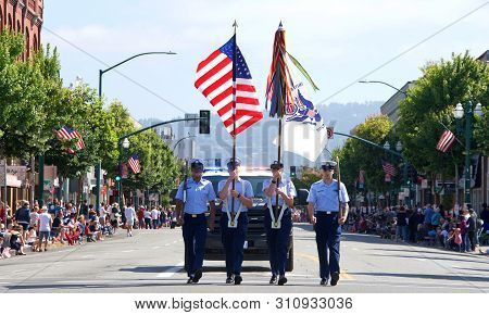 Alameda, Ca - July 4, 2019: Unidentified Participants In The Alameda 4th Of July Parade, One Of The
