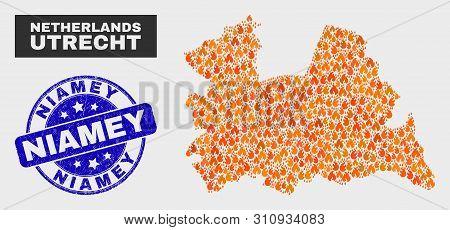 Vector Collage Of Fire Utrecht Province Map And Blue Round Grunge Niamey Stamp. Orange Utrecht Provi