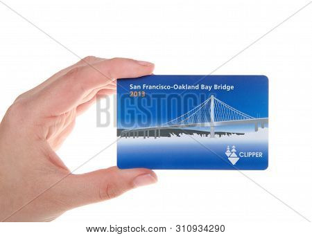 Alameda, Ca - July 08, 2019: Young Caucasian Hand Holding Clipper Card, The All In One Transit Reloa