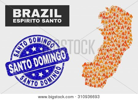 Vector Composition Of Flamed Espirito Santo State Map And Blue Rounded Grunge Santo Domingo Seal. Or