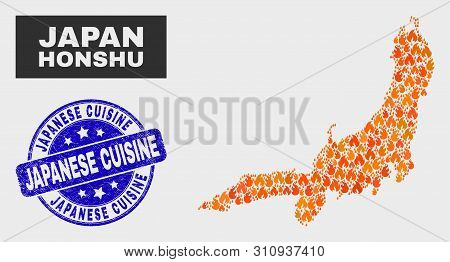 Vector Collage Of Flame Honshu Island Map And Blue Rounded Grunge Japanese Cuisine Seal Stamp. Orang