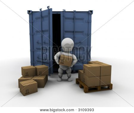 Person Unloading Freight Container
