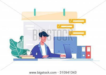 Young Man With Computer Fills Schedule Calendar And Complete Business Task For Work. Concept Male Em