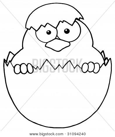 Outlined Surprise Chick Peeking Out Of An Egg Shell poster
