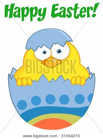 Happy Easter Chick In A Blue Shell
