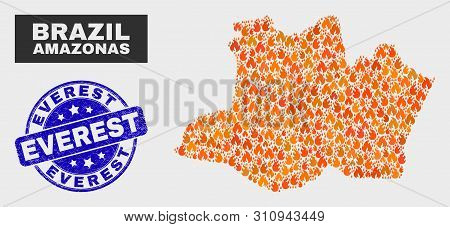 Vector Collage Of Fire Amazonas State Map And Blue Rounded Scratched Everest Seal Stamp. Fiery Amazo