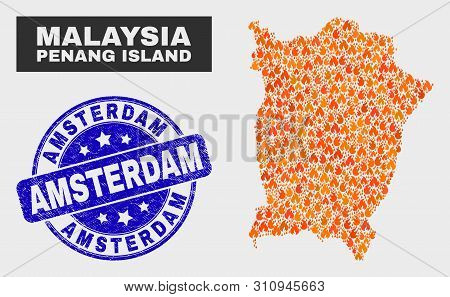 Vector Collage Of Fire Penang Island Map And Blue Round Textured Amsterdam Seal. Fiery Penang Island