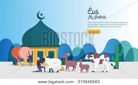 Islamic Design Illustration Concept For Happy Eid Al Adha Or Sacrifice Celebration Event With People