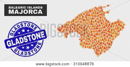 Vector Collage Of Fire Majorca Map And Blue Round Scratched Gladstone Watermark. Orange Majorca Map