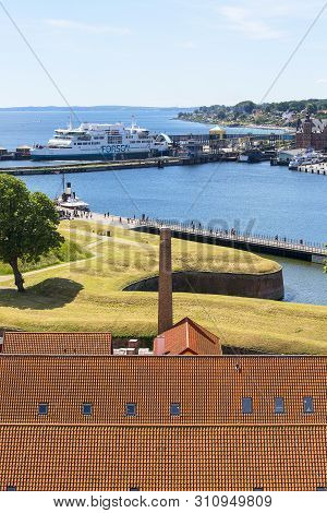 Helsingor, Denmark - June 23, 2019: Former Military Barracks On The Outskirts Of The Kronborg Castle