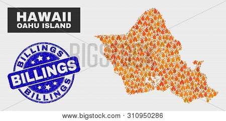 Vector Composition Of Fire Oahu Island Map And Blue Rounded Distress Billings Seal. Orange Oahu Isla