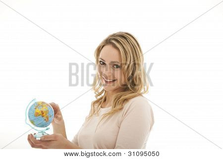 Smiling Woman Holding Globe