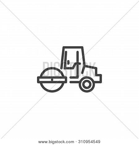 Road Roller Line Icon. Linear Style Sign For Mobile Concept And Web Design. Asphalt Paver Outline Ve