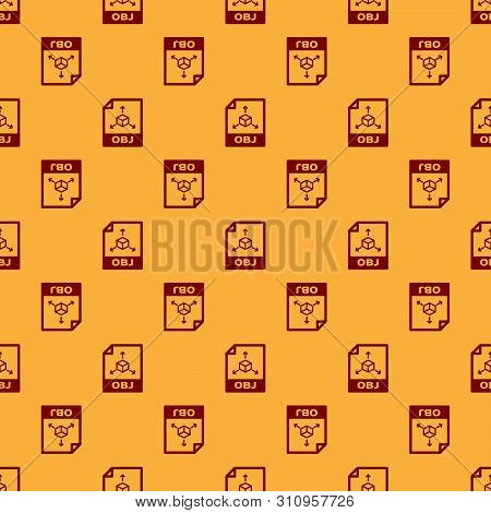 Red Obj File Document Icon. Download Obj Button Icon Isolated Seamless Pattern On Brown Background.
