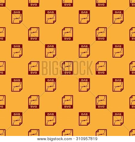 Red Svg File Document Icon. Download Svg Button Icon Isolated Seamless Pattern On Brown Background.