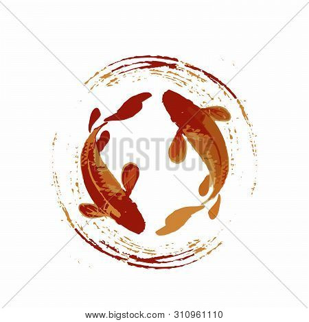 Legendary Japan Koi Fish Logo, Luck, Prosperity, And Good Fortune