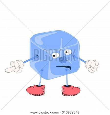 Funny Cartoon Blue Ice Cube With Eyes, Hands And Feet In Shoes, Showing An Indecent Gesture With A F