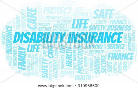 Disability Insurance Word Cloud Vector Made With Text Only