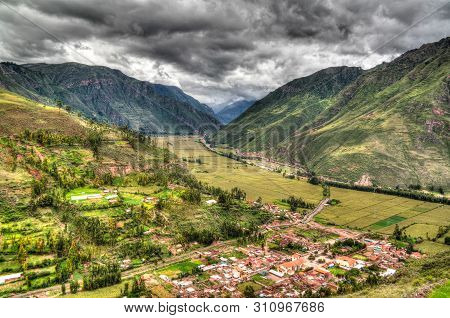 Aerial Landscape Panoramic View To Urubamba River And Sacred Valley From Taray Viewpoint Near Pisac
