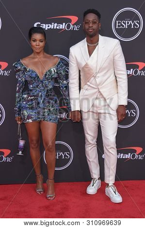 LOS ANGELES - JUL 10:  Gabrielle Union and Dwyane Wade arrives to ESPY Awards 2019  on July 10, 2019 in Hollywood, CA